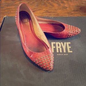 Frye Leather Flat - Size 7.5, Red Genuine Leather